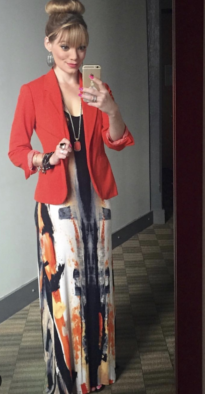 Wore this to a conference with a super cute blazer (which I still have) and this fun, long necklace (which I still have and want to break out again!).  I sprained my ankle on a hike with Terry and could not wear heels to work.  When it's May, your only options are sandals or heels, so I wore maxi dresses with sandals!
