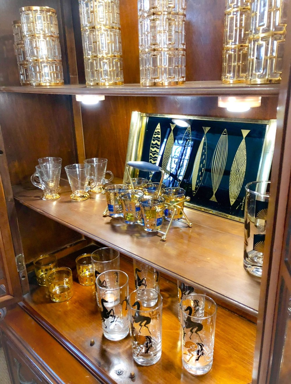My Mid-Century Barware with the Shoji Glass on the Top Shelf