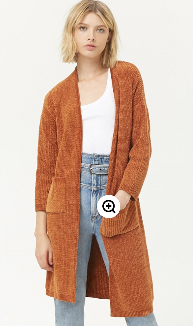 Loving this Forever 21 cozy chenille cardigan.  This will be on my wish list for fall!
