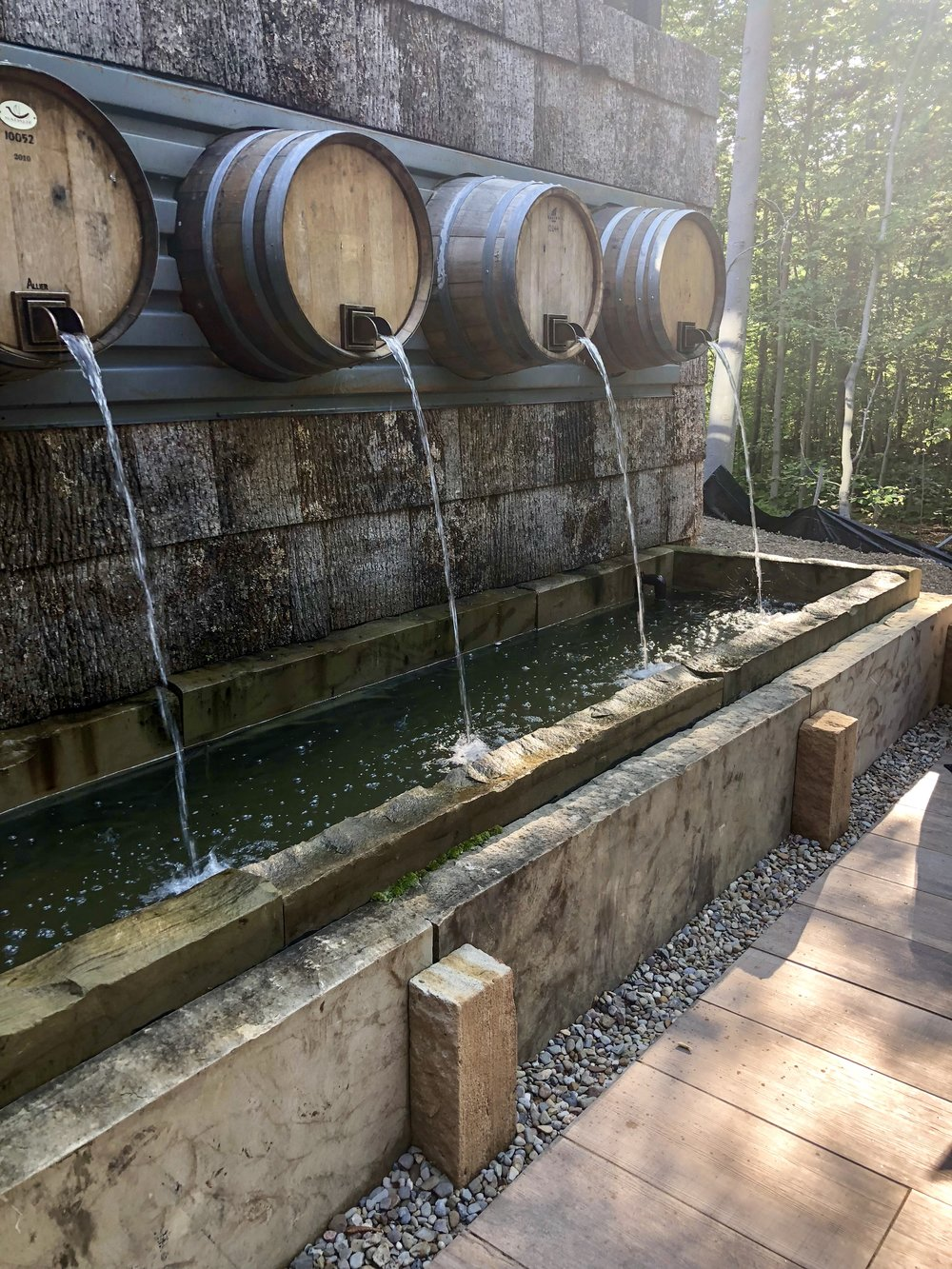 Gorgeous wine barrel fountain
