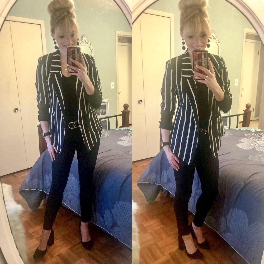 Classic Silhouette with black and white striped blazer, black jeans, and black block heels