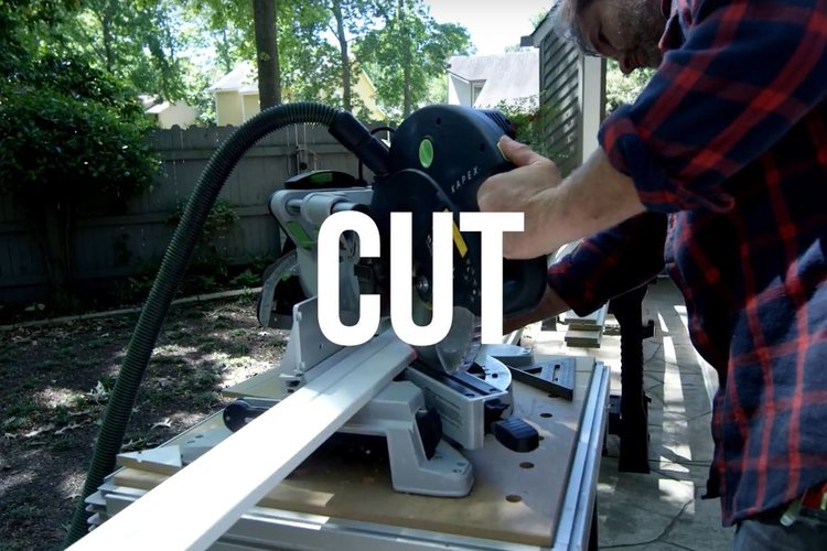 STEP 3 - CUT || Again, make sure to measure twice and cut once. Cut moulding for each section by using hand saw with a miter box or an electric miter saw.