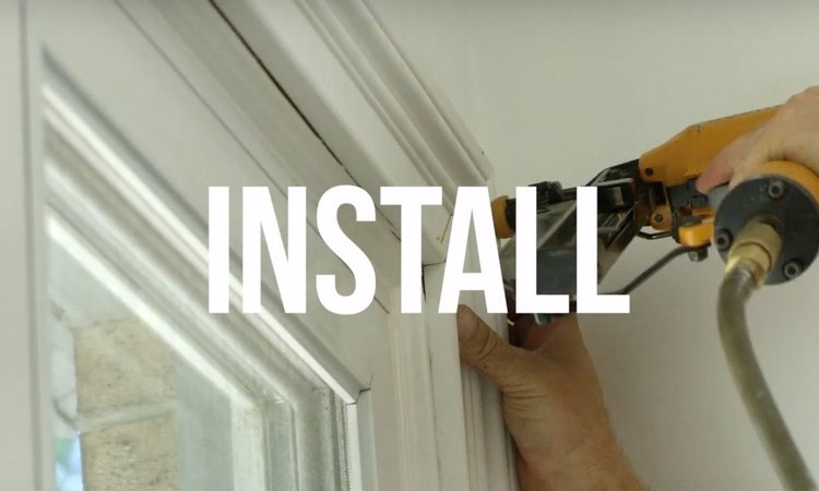 STEP 4 - INSTALL || Nail cut moulding to the wall using a hammer and finish nail set or speed up the process with a nail gun. 18-gauge brad nail and compressor kits are pretty inexpensive and well worth it. As you install, use a level to make moulding is plumb and level.