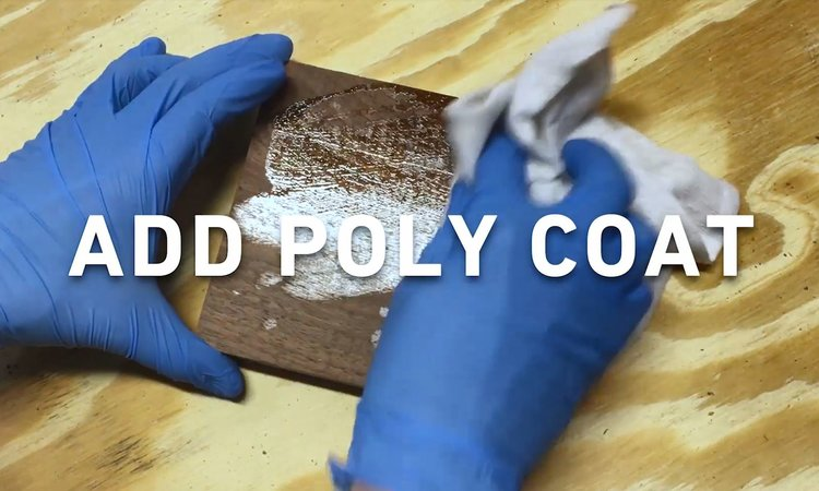 STEP 5 - APPLY POLY COAT || Apply a top coat of polyurethane. You can either use a brush or wipe on method. We used Minwax Gloss Wipe-On Poly.