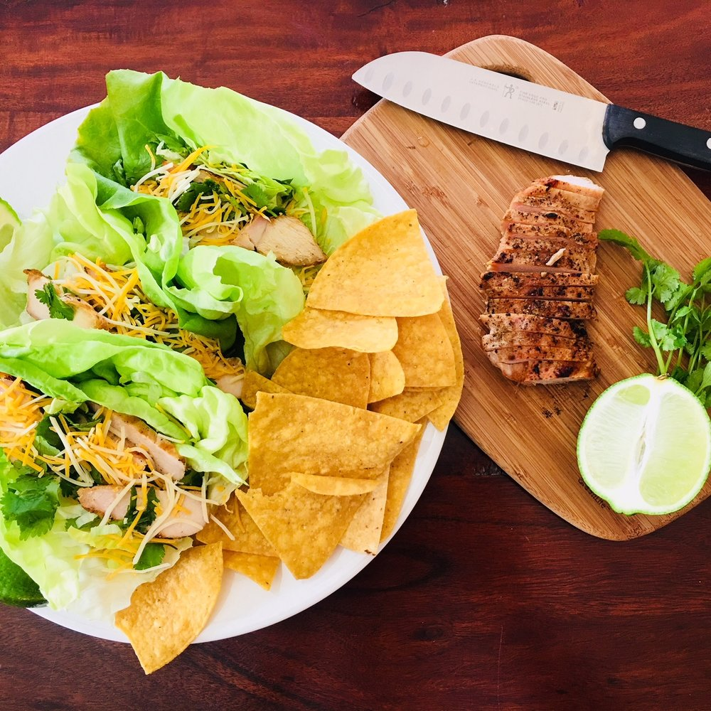 Lettuce Tacos with Grilled Chicken