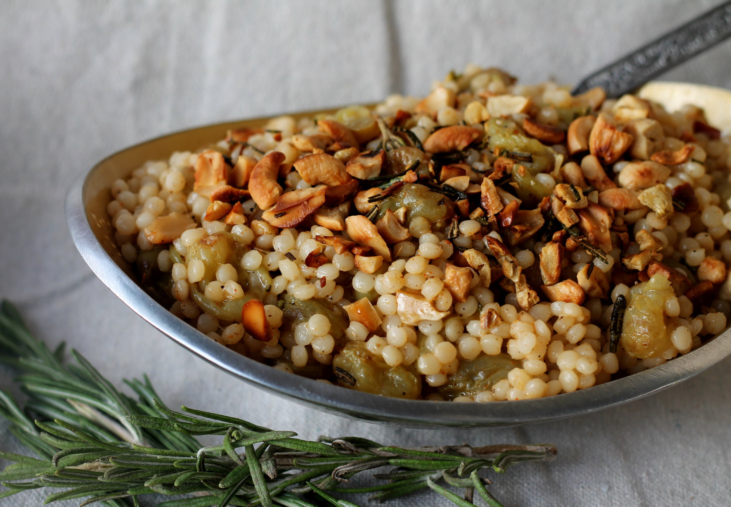 sraeli Couscous with Roasted Grapes and Rosemary1
