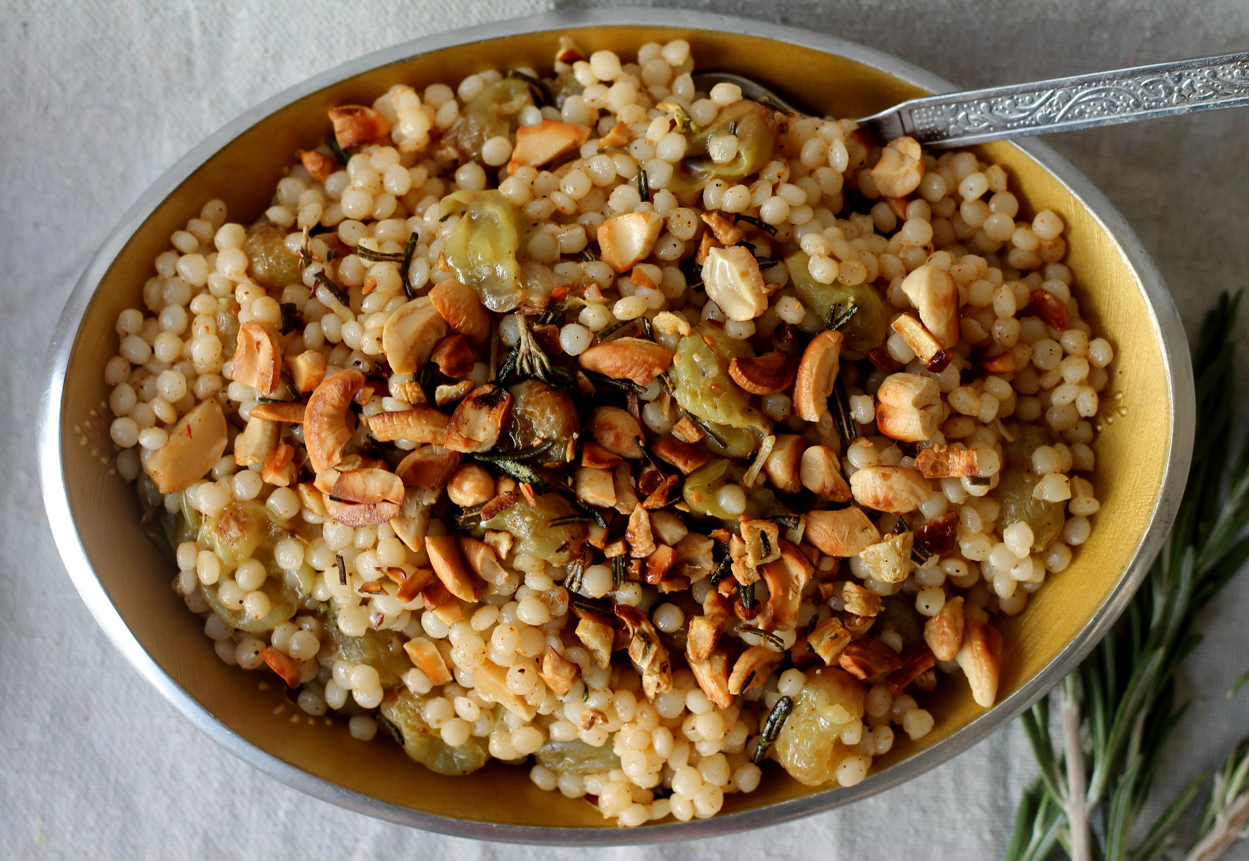 sraeli couscous with roasted grapes, rosemary