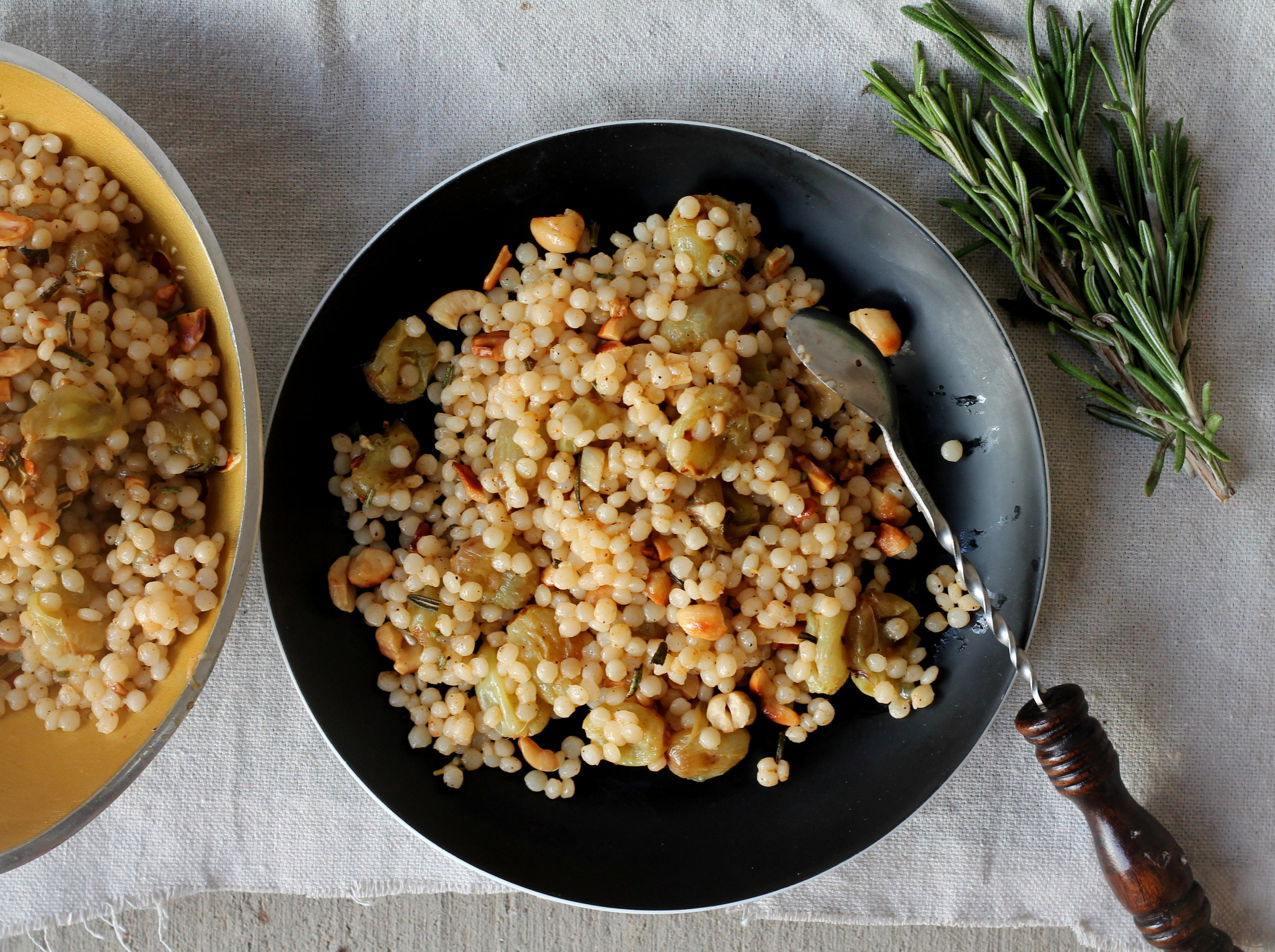 isareali couscous with roasted grapes and rosemary