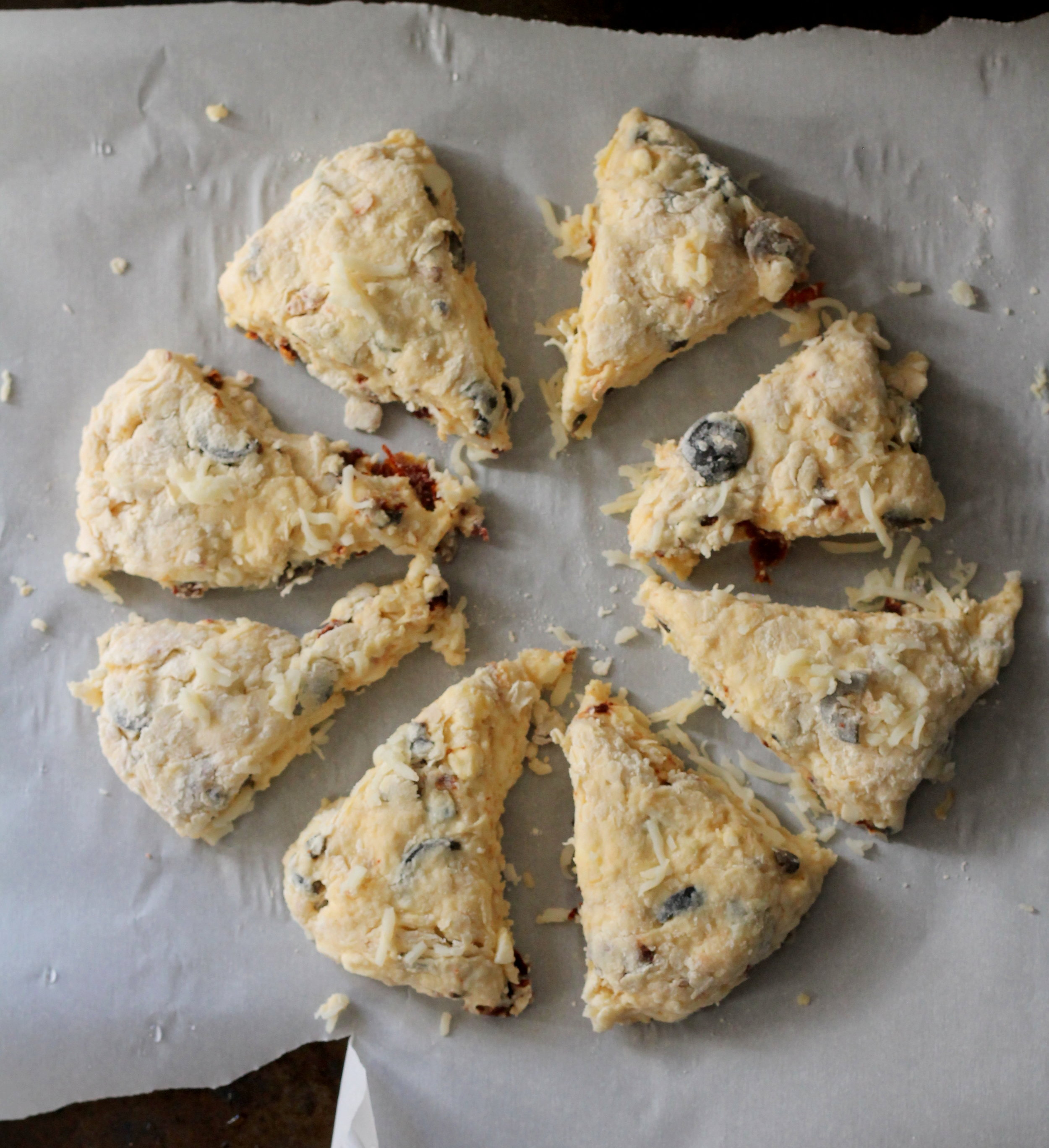 olives and sundried tomato scones