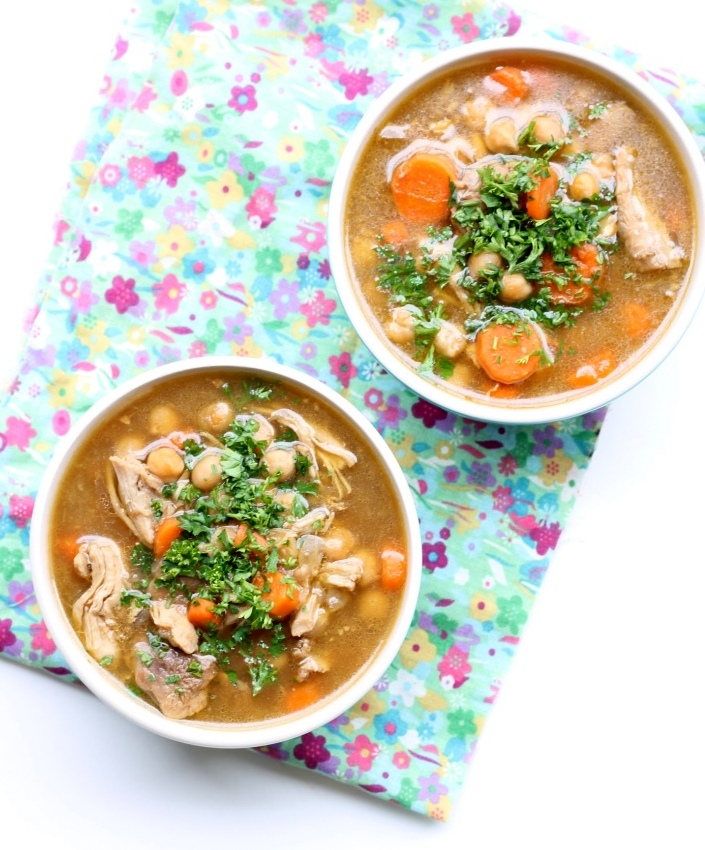 Chicken and Chickpea Soup is a rustic, one pot recipe that calls for minimal ingredients. It is naturally gluten-free and loaded with two different protein sources, chickpeas and chicken thigh.