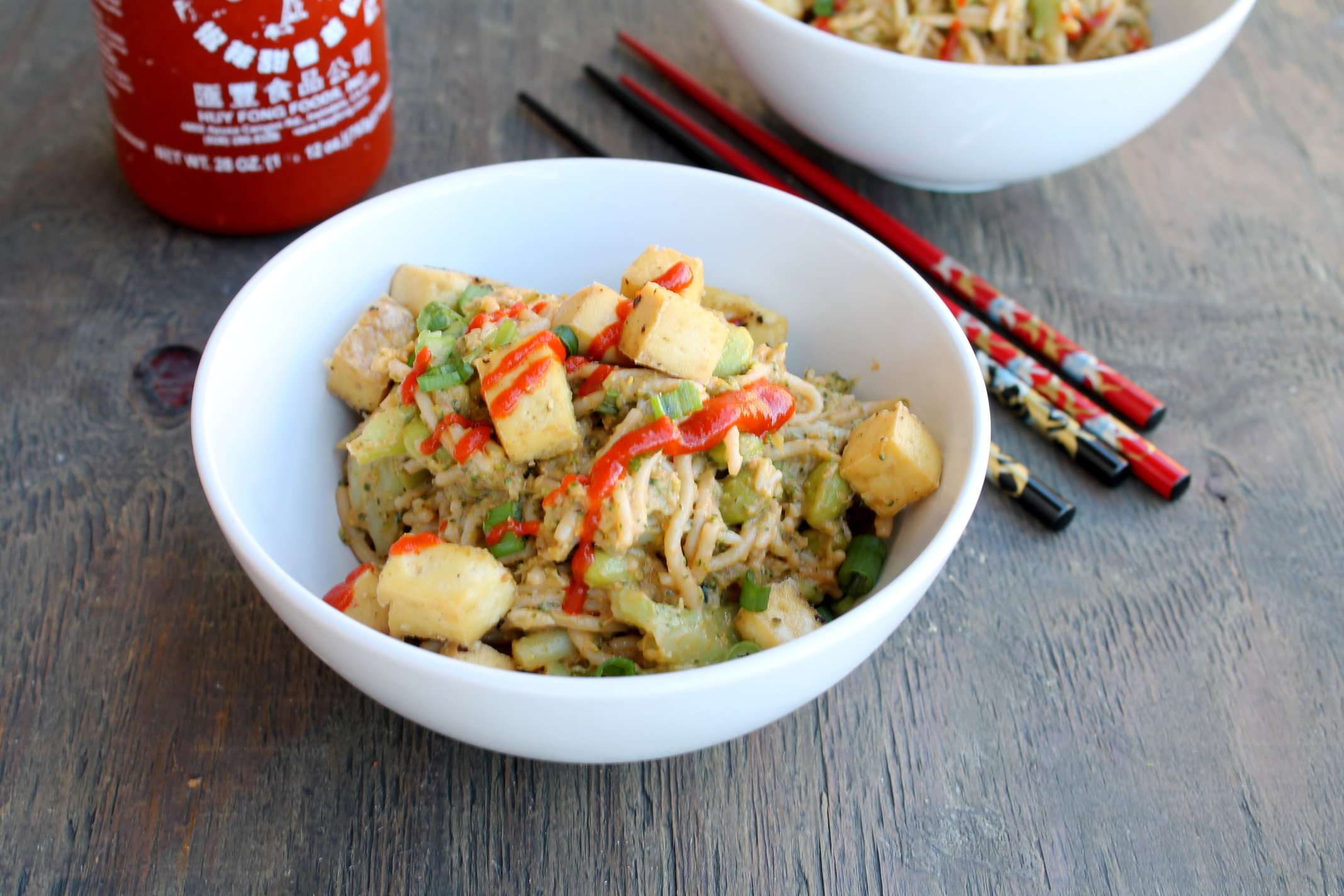 Peanut Butter Sriracha Noodles is perfect weeknight meal that is one pot, vegan and gluten-free friendly.
