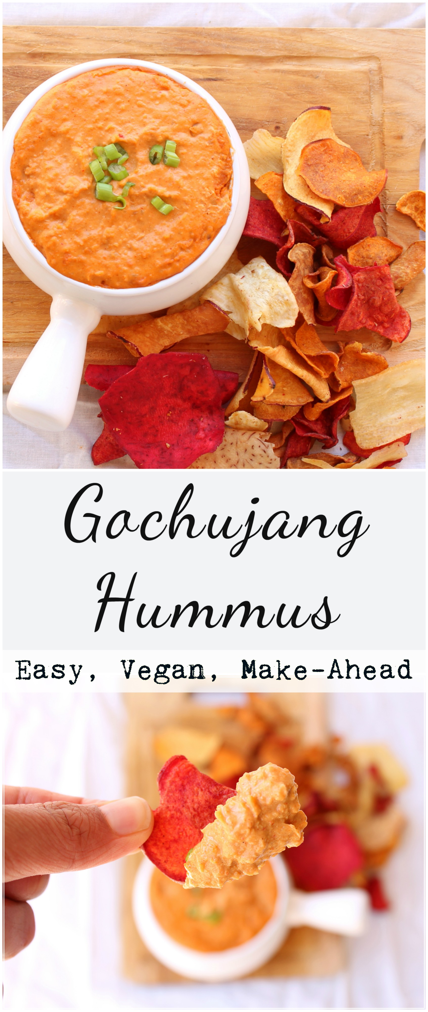 Take your regular hummus to a next level by adding Gochujang, a Korean fermented soy bean red chili paste. Naturally vegan, easy, and great for entertaining/snacking!