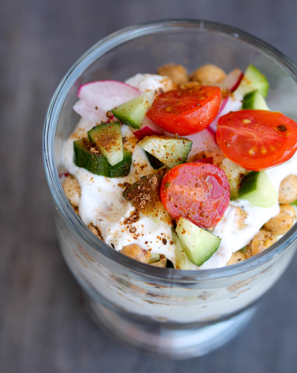 Savory Yogurt Parfait is a great option for quick, savory breakfast or an afternoon snack! It is packed with protein and other nutrients and is naturally gluten-free!