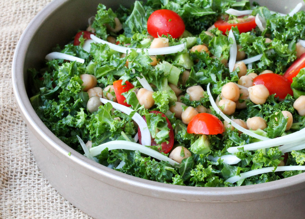 Chopped Kale and Chickpea Salad with Tamarind Vinaigrette is a sturdy, nutritious salad that packs well for lunch/picnic! It is naturally vegan, gluten-free, and allergy friendly as well.