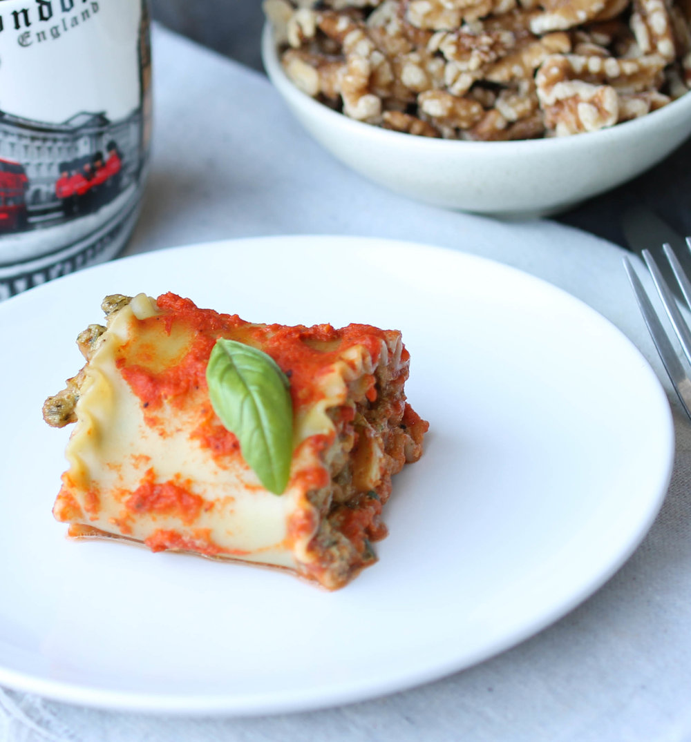 Vegan Lasagna Roll-Ups with Walnut Basil Sauce is dinner friendly, can be make-ahead, and comes together in within an hour.