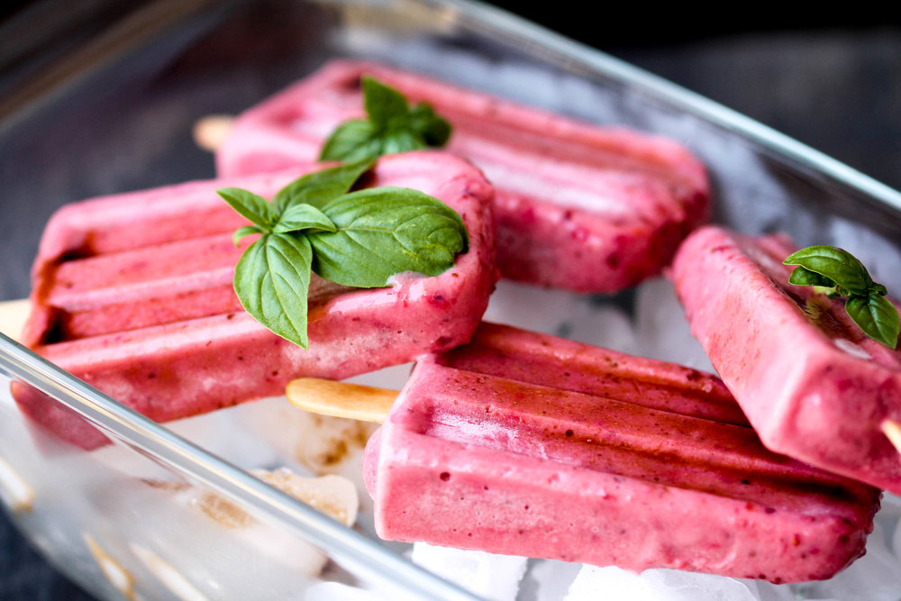 Balsamic Roasted Strawberry Popsicles - 4 Ingredients, Easy Vegan Popsicles for everyone to enjoy this Summer!