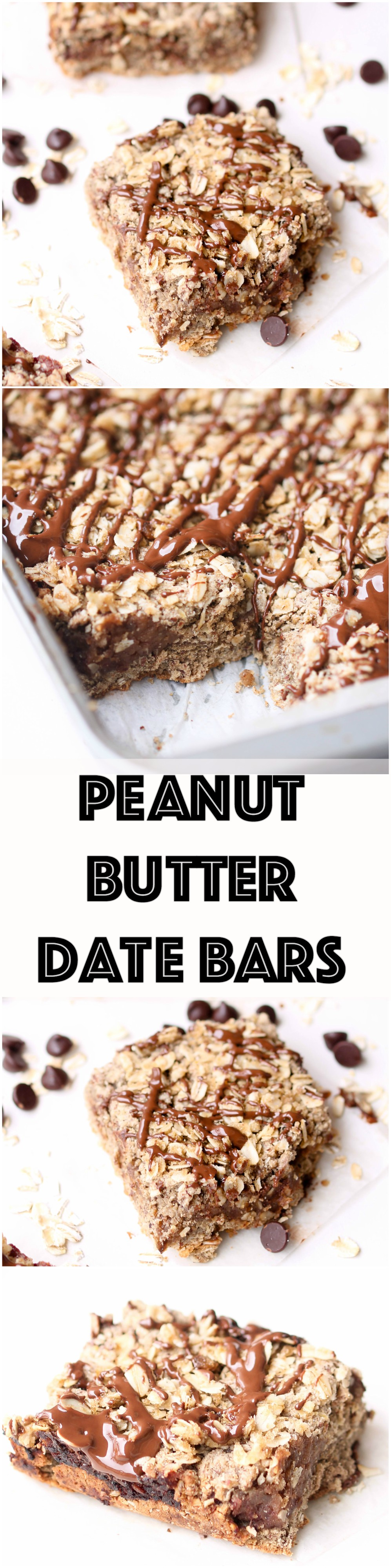 Peanut Butter Date Bars - these vegan, gluten-free bar are perfect for snacking, dessert, or even breakfast! Make a large batch and enjoy it throughout the week.