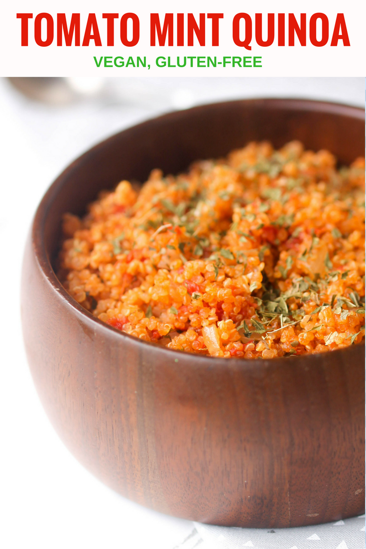 Tomato Mint Quinoa is made with minimal ingredients and is a one-pot recipe. Naturally vegan and gluten-free side dish for a weeknight, potluck, or holiday!