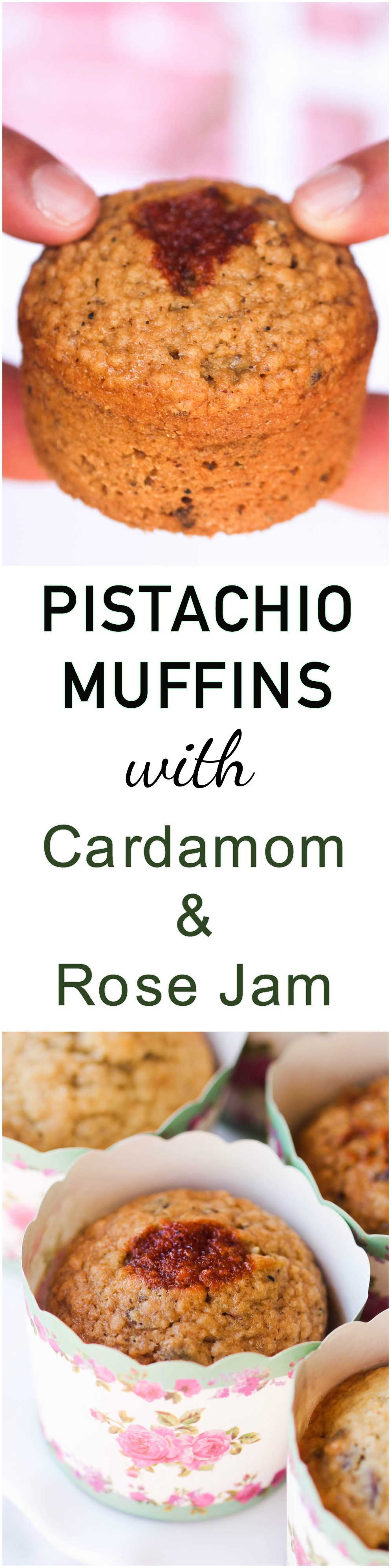 Pistachio Muffins with Cardamom and Rose Jam are perfect for grab n' go breakfast or afternoon snack with your tea or coffee.