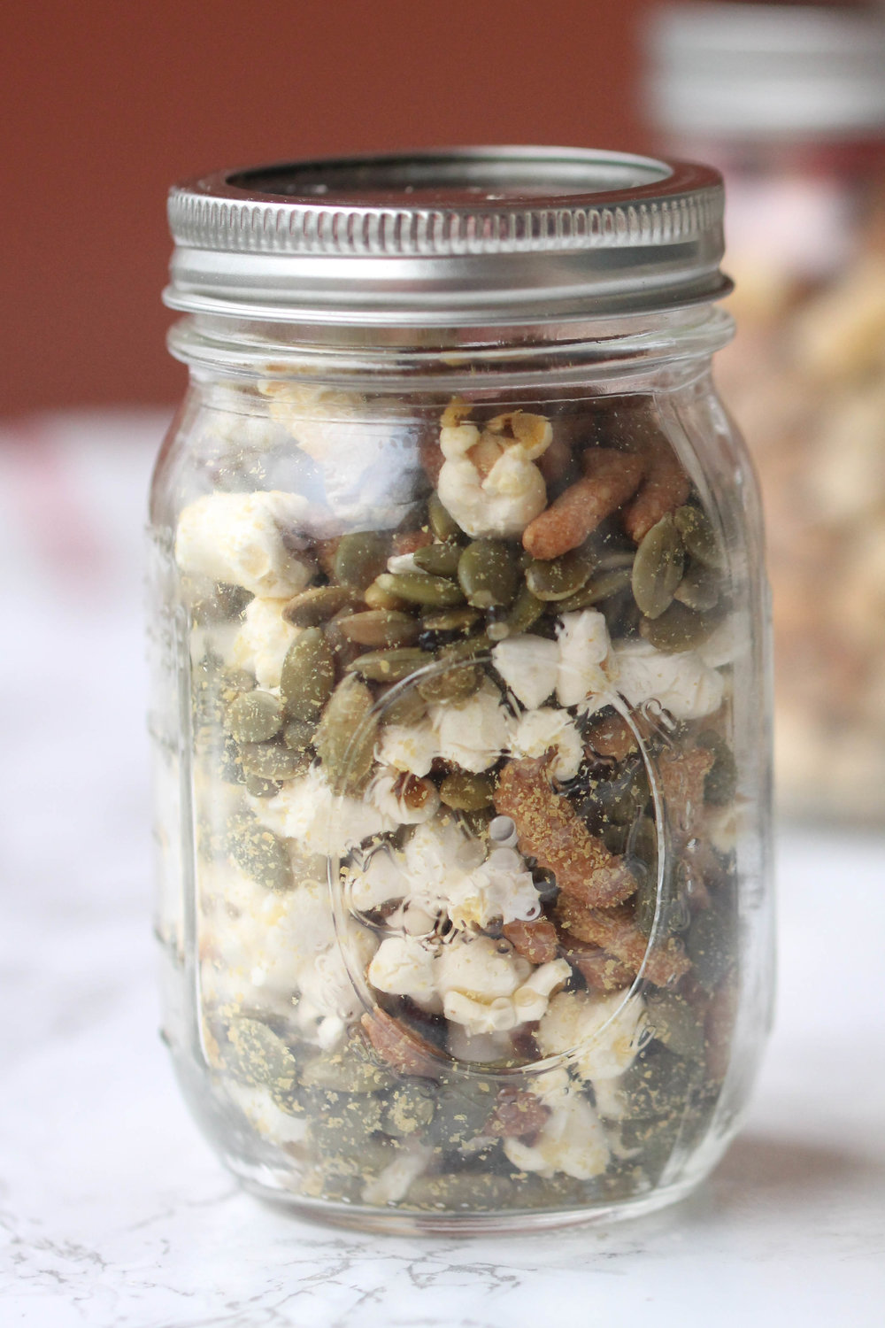 - Savory Trail Mix : pumpkin seeds, popcorn, nutritional yeast, sesame sticks