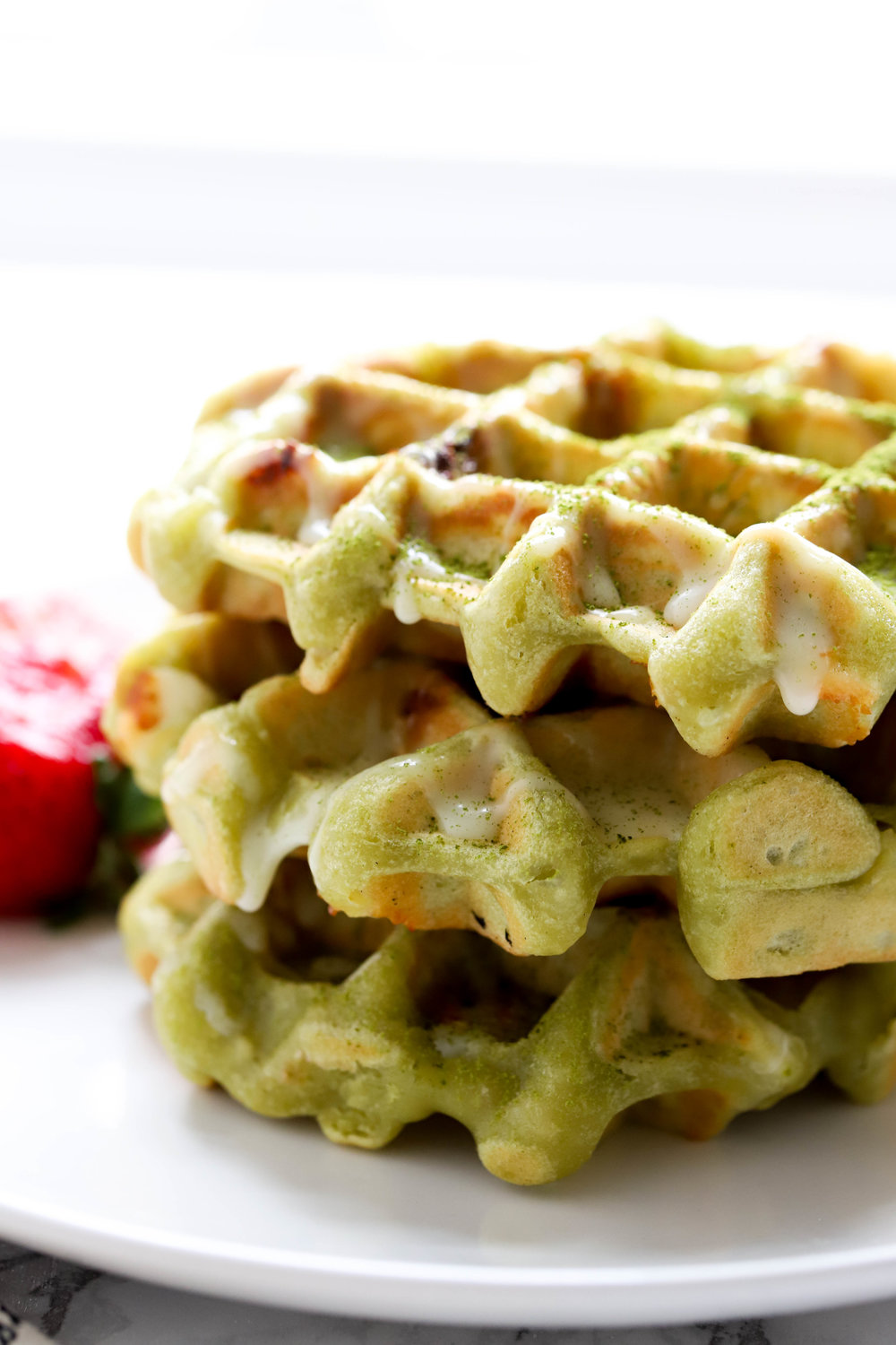 Matcha White Chocolate Waffles