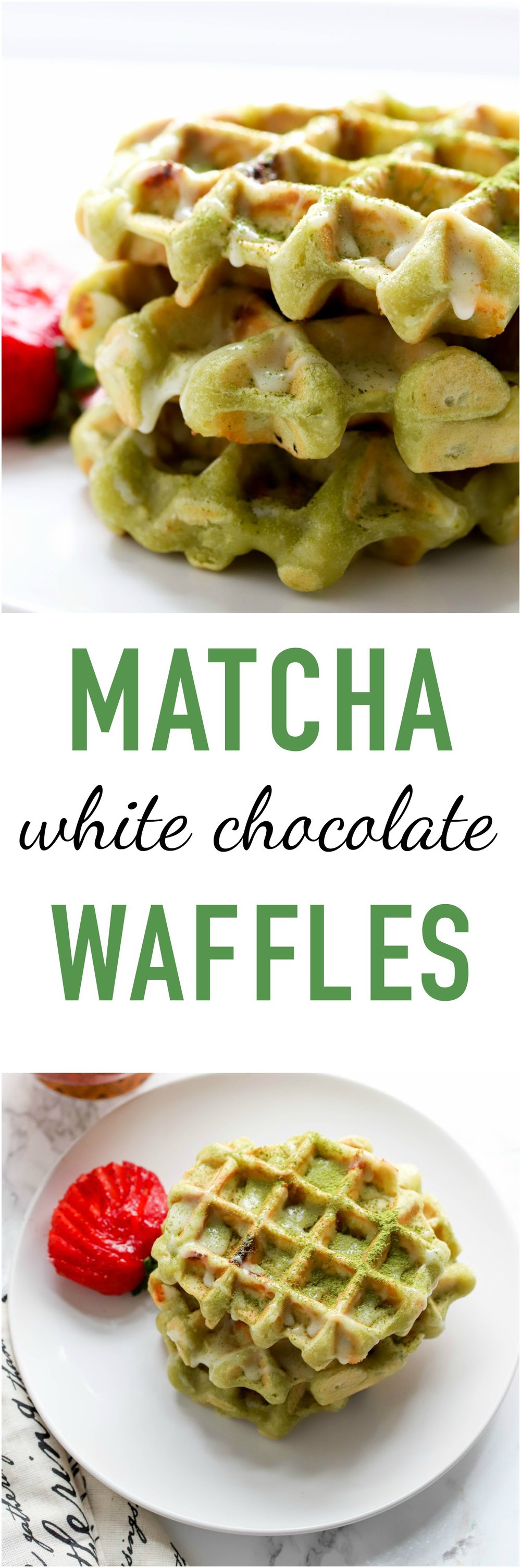 Matcha White Chocolate Waffles are almost vegan and totally decadent to make your morning special! There is a hint of matcha flavor in every bite and pairs beautifully with white chocolate chips!