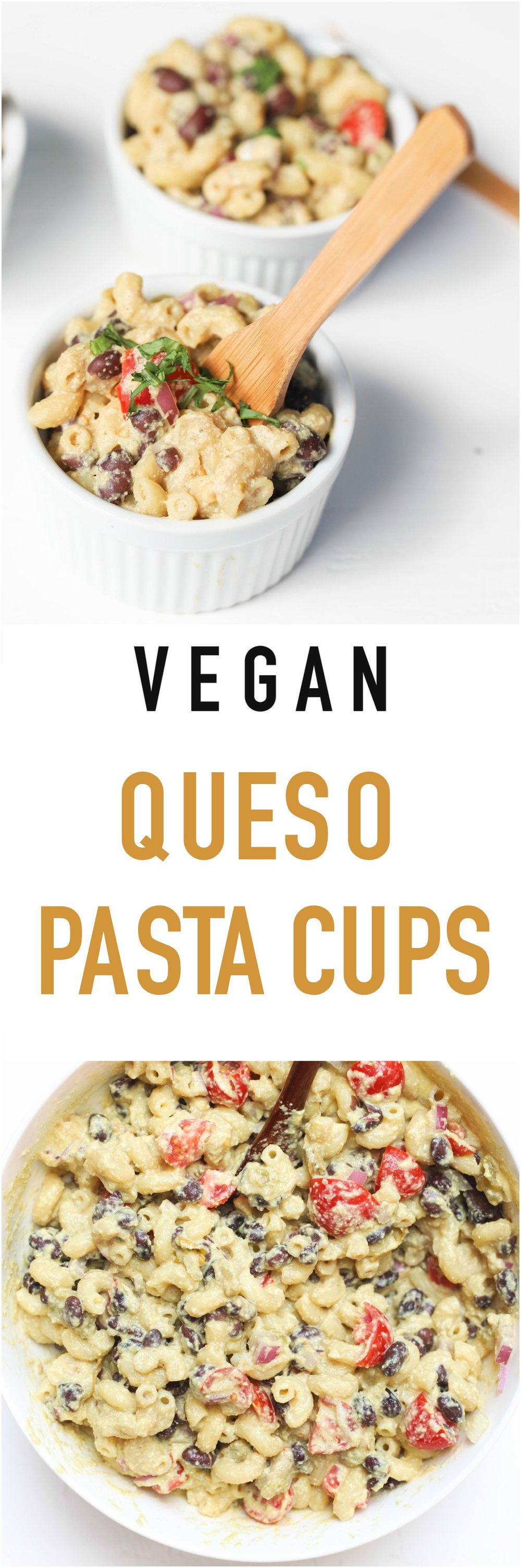 Vegan Queso Pasta Cups are made with  plant-based ingredients, packed with protein, and can be enjoyed as a meal or a side.