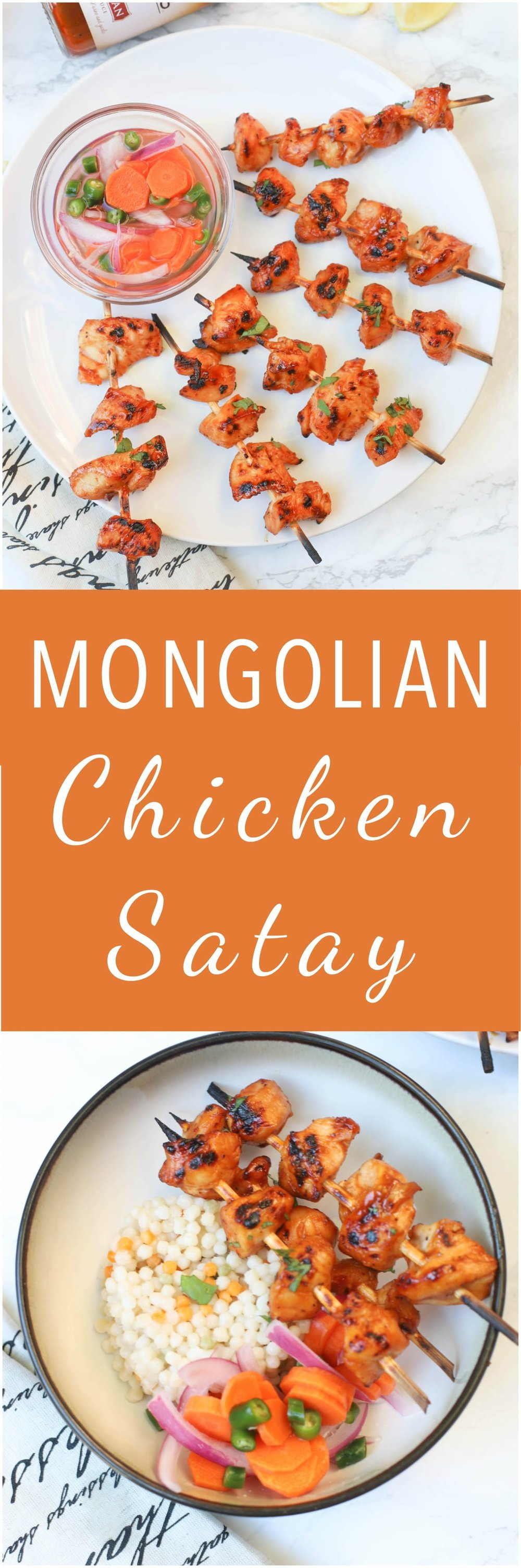 Mongolian Chicken Satay is a 2 ingredient easy, delicious appetizer or dinner that comes together in less than hour.
