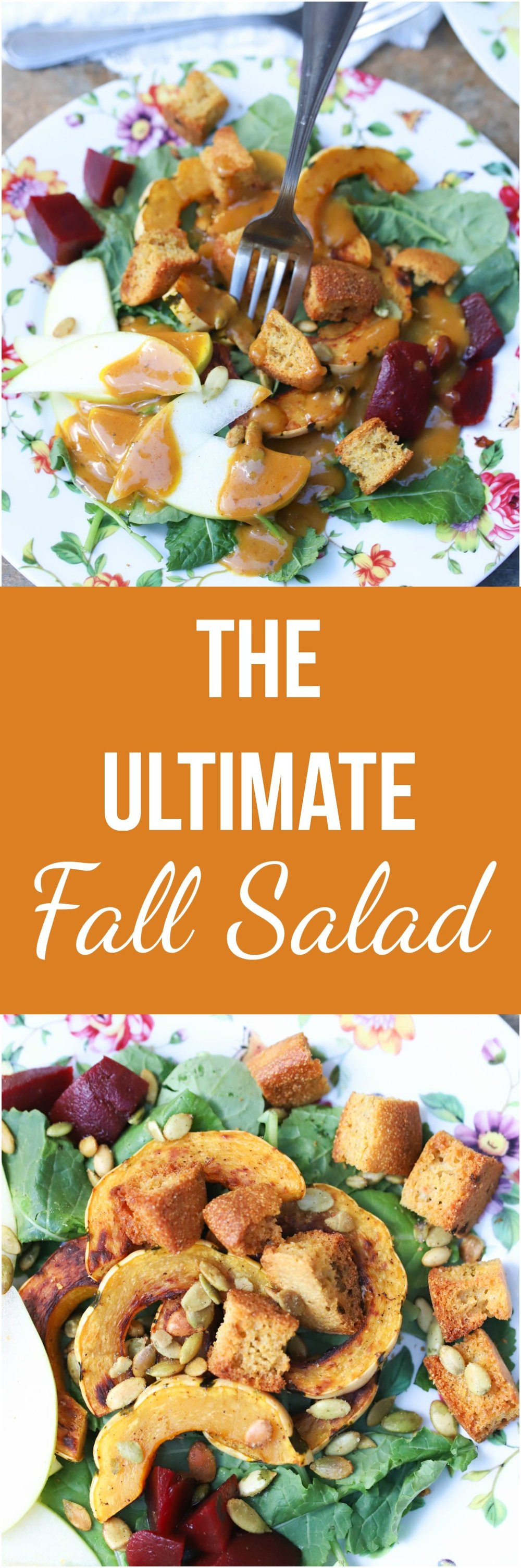 The Ultimate Fall Salad is a hearty, satisfying salad packed with autumn's bounty. It is naturally vegan & gluten-free as well.