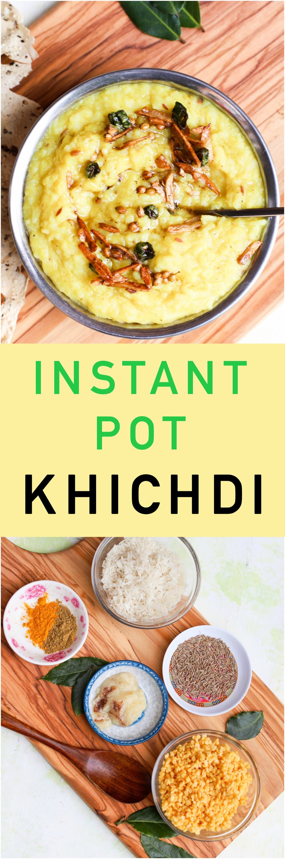 Instant Pot Khichdi is a one-pot soothing porridge with rice, lentils, and spices. Naturally gluten-free and vegan friendly. #instantpot