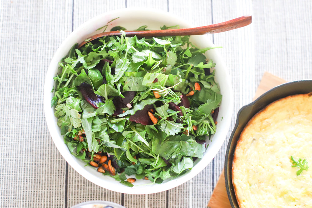 3 Herb & Arugula Salad - A vibrant salad with fresh herbs, peppery arugula, simple vinaigrette, and crunch from fried cashews! The recipe is naturally gluten-free, it can be adapted for vegans as well. Serve as a side salad or a refreshing lunch.