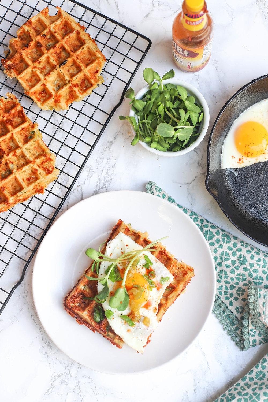 Green Chile Cheddar Waffles