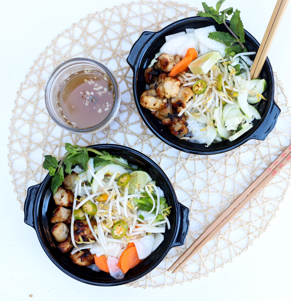 Vietnamese Caramelized Chicken Noodle Bowl
