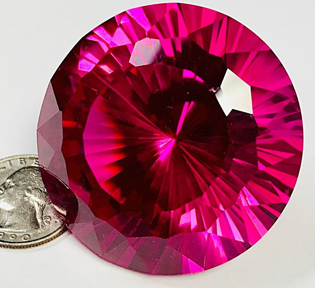 Synthetic ruby, 672 carats, cut from a huge crystal grown in the 1970s for laser applications. The somewhat unexpected marketplace acceptance of synthetic diamond may usher in a Renaissance of interest in all types of synthetic gems. There are many such materials that have not yet been seen except in the hands of collectors. #joelarem.com#synyheticgems#growngemstones#laboratorygems#ruby#corundum#lasers#collectorgems#gems#gemstones