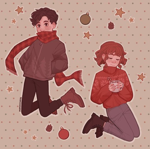"""""""Since it's winter, I drew my characters in cozy outfits. I haven't developed much of a story for them but they are reoccurring characters in my art"""""""