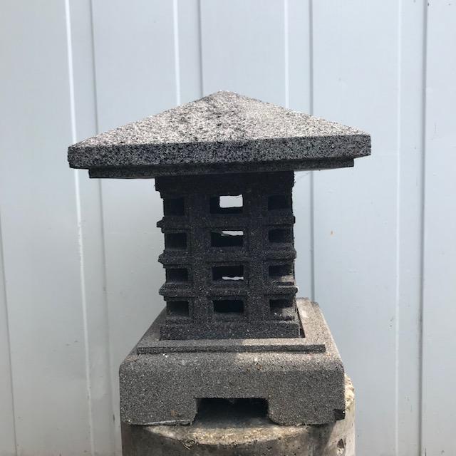 Japanese garden lamp made of volcanic rock