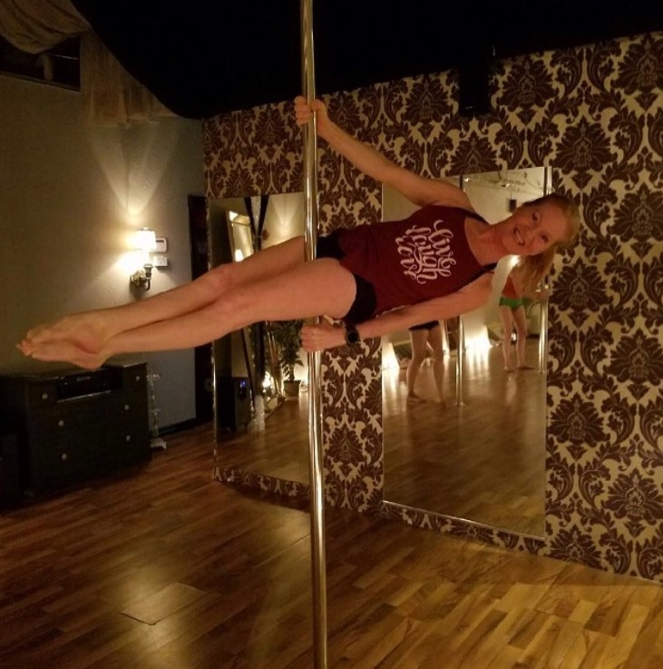 student spotlight... - One of students, Jen, had been in multiple car accidents before she started pole dancing and never thought she'd be able to do tricks on the pole. Now, every day she enjoys the strength and confidence in herself and her body that she gained from trusting herself and her pole instructors. A true success story, like so many other women at our studio!