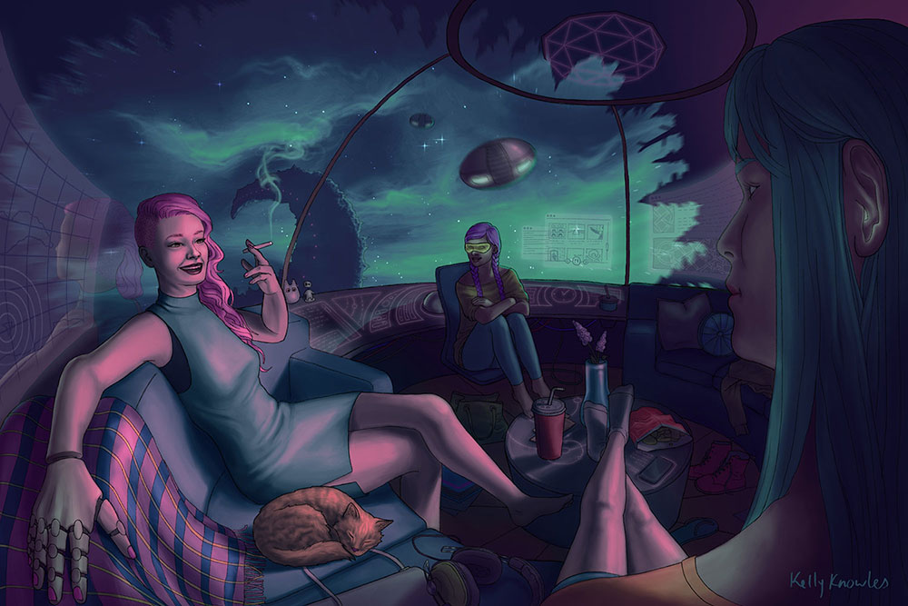 """""""Commuters"""" surreal sci fi digital painting"""