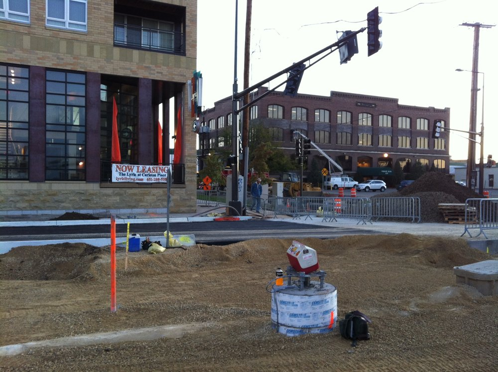 The Green Line light rail train was under construction through the Zone in 2013. Shown here, University Ave. at Hampden.