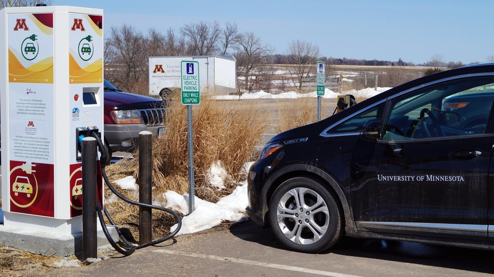 A new fast charger for electric vehicles at the University of Minnesota West Central Research and Outreach Center in Morris on Tuesday, April 17, 2018. The campus also has a Chevy Bolt, which it will use to for research visits to dairy farms and other trips across the state. courtesy of Esther Jordan of WCROC