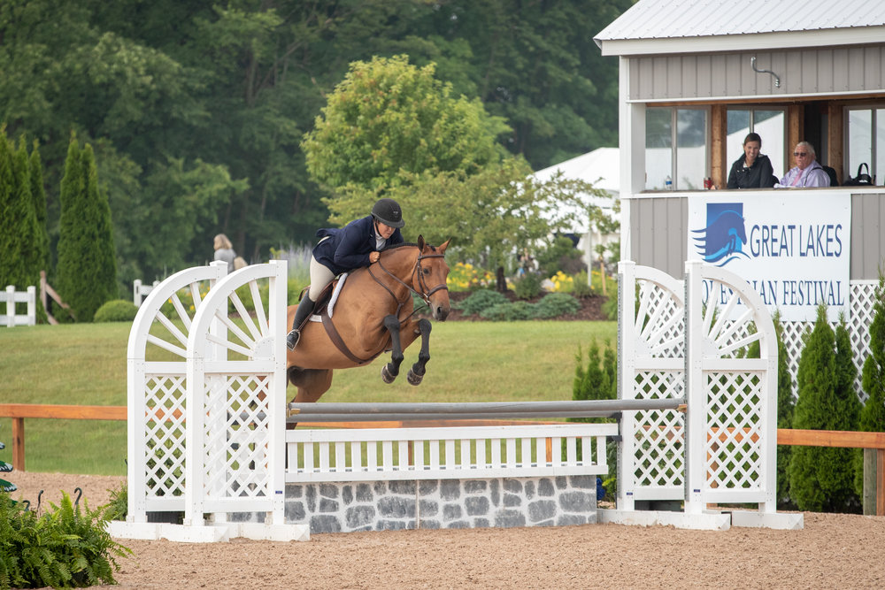 """Michelle Durpetti and Lucca finished in the top six of all of their 3'6"""" Amateur-Owner Hunter over fences classes."""