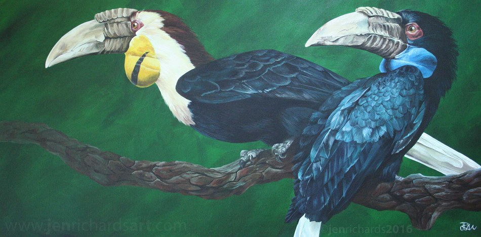 """Betelgeuse and Zelda"" - Wreathed hornbills, 2016 Acrylic on canvas 30 x 15 inches NOT FOR SALE"