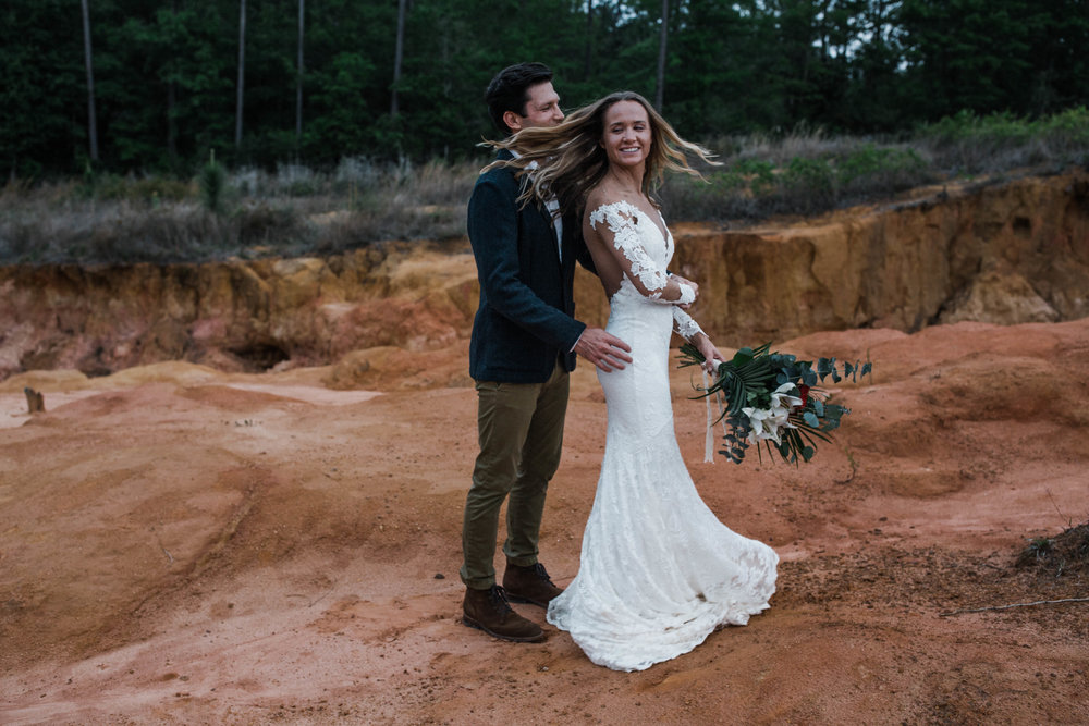 Adventure elopement in a mini canyon