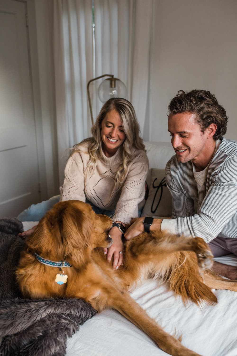 Cutest in home session with a mid century modern design and Golden Retriever!