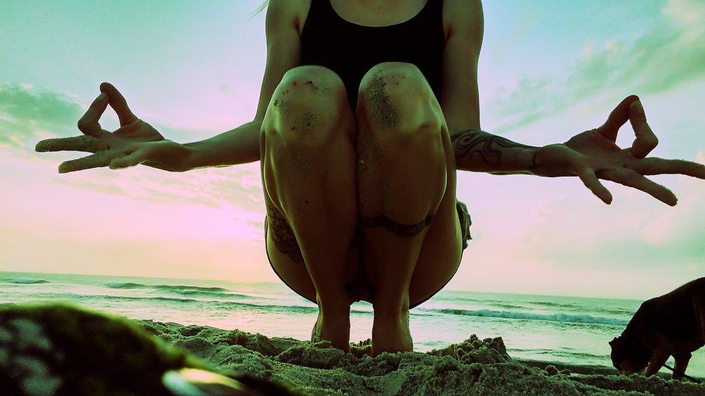 Yogic Squat on the Beach