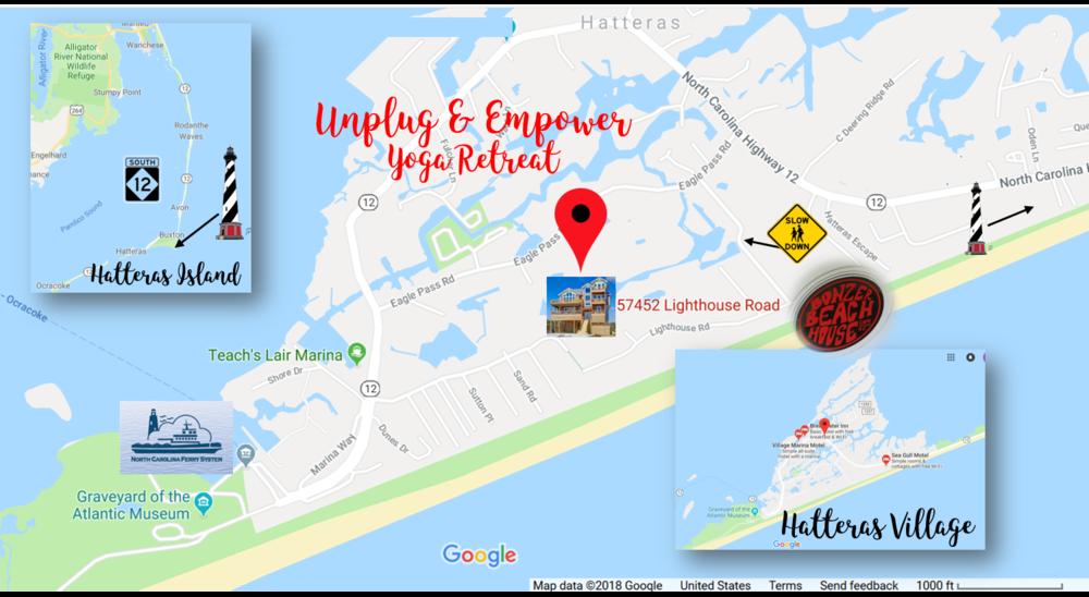UNPLUG & EMPOWER YOGA RETREAT  Located at Bonzer Beach House, 57452 Lighthouse Road, Hatteras, North Carolina, 27943