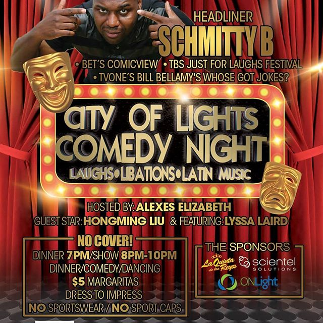 "Nexgen Ent & Can't Go Back Productions presents another ""FREE"" City of Lights Comedy Night starring SCHMITTY B!!! Fri, Feb 9, 2018; 7:00 PM – 10:00 PM CST. Get tickets @ https://www.eventbrite.com/e/the-city-of-lights-comedy-night-presentsschmitty-b-tickets-42238906707?invite=&err=29&referrer=&discount=&affiliate=&eventpassword="