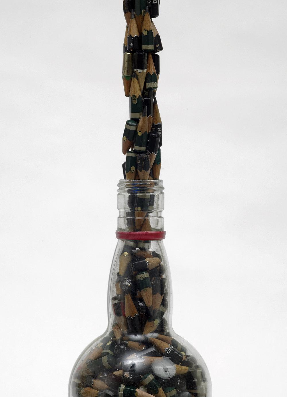 Bottle-and-Used-Pencils,-Vodka-bottle,-pencil-stubs,-glue,-46-x-8.jpg