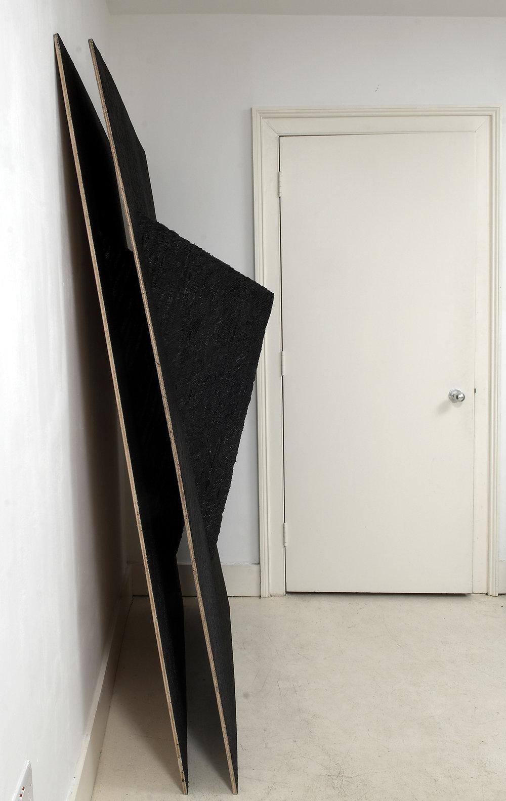 Leaning-Sculpture-&-Leaning-Sculpture-[Replica],-Board,-screws,-paper-maché,-black-board-paint,-acrylic-paint,-gel-medium,-both;-195-view-3.jpg