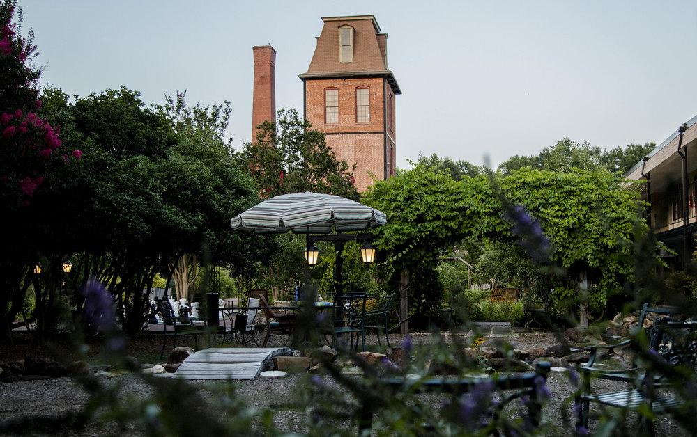 Duke Tower behind courtyard, Pearl Mill Flats, Durham condominiums